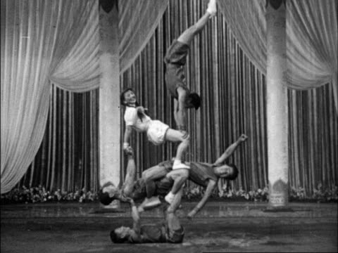A series of various acrobats perform wildly different routines for Chinese audiences