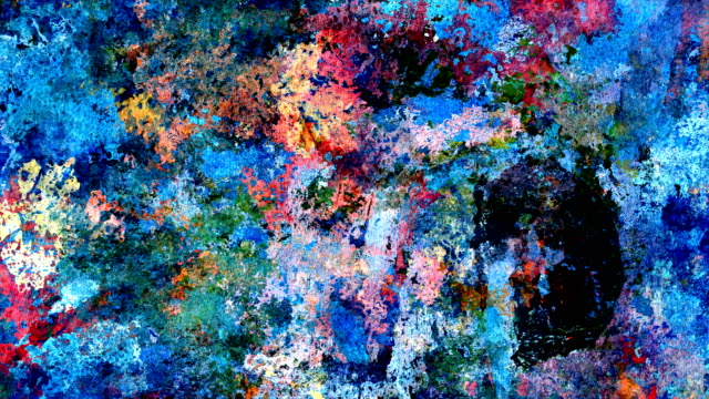 "series ""universe and indifferent"" oilpainting seven twenty - vibrant (loop) - canvas fabric stock videos and b-roll footage"