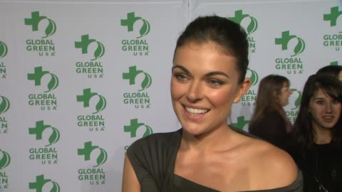 serinda swan on wearing a line from donna karen's haiti inspired collection, why she wanted to support global green, what she does to live a greener... - oscar party stock videos & royalty-free footage
