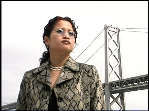 serious businesswoman by bridge, san francisco, california - einzelne frau über 30 stock-videos und b-roll-filmmaterial
