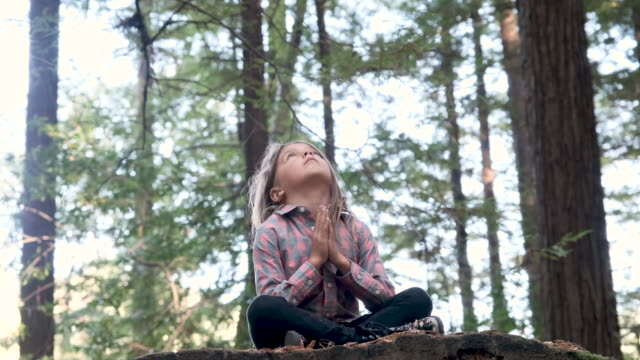 serious thinking little girl praying in the woods - new age stock videos & royalty-free footage