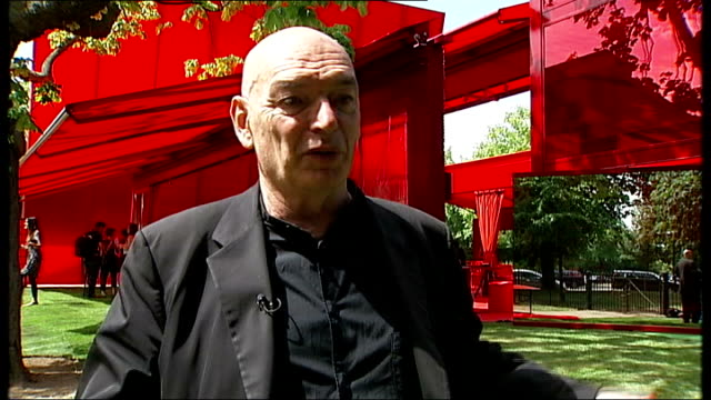 Serpentine Gallery Pavilion unveiled in Hyde Park ENGLAND London Hyde Park EXT ** Jean Nouvel interview overlaid on some shots SOT ** General view...