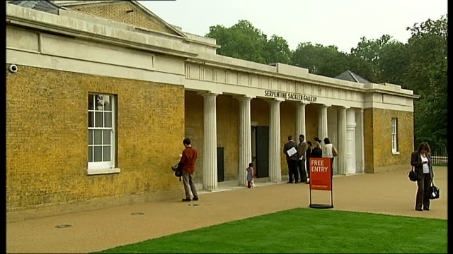 Serpentine Sackler Gallery opens ENGLAND London Hyde Park EXT New Serpentine Sackler Gallery People along outside 'Serpentine Sackler Gallery'...