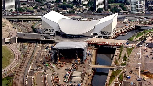 serpentine sackler gallery opens t27071101 / startford olympic park aerial of aquatics centre under construction - smithsonian institution stock videos & royalty-free footage