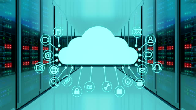 server room and seamless animation of cloud and application icons, 4k video - file stock videos & royalty-free footage