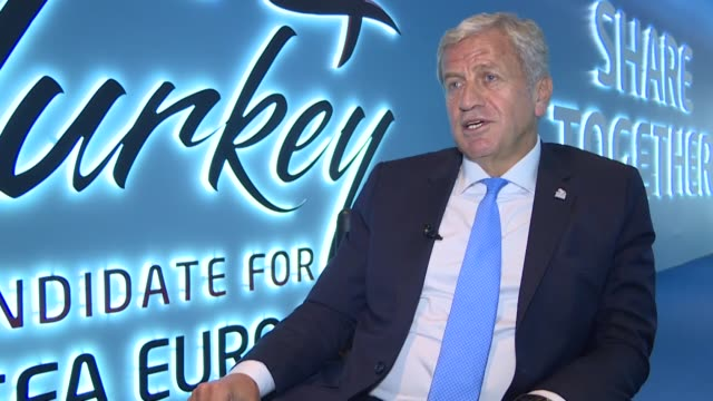 Servet Yardimci a UEFA executive committee member and vice president of the Turkish Football Federation speaks at an interview in Istanbul Turkey on...