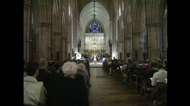 service held at southwark cathedral in london to bless the first chapel in britain dedicated to aids sufferers on world aids day; december 1991. - annual event stock videos & royalty-free footage