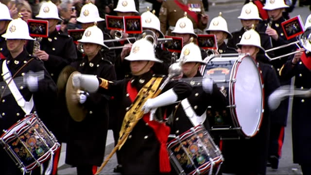 service held to commemorate those who served in afghanistan; london: ext column of soldiers preparing to march along street band of the royal marines... - royal marines stock videos & royalty-free footage