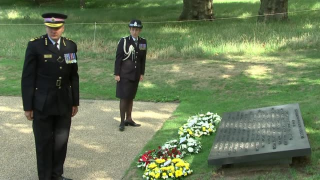 service held to mark 15th anniversary of 7/7 bombings england london hyde park 7 july memorial ext side view sadiq khan laying wreath at memorial and... - cressida dick stock videos & royalty-free footage