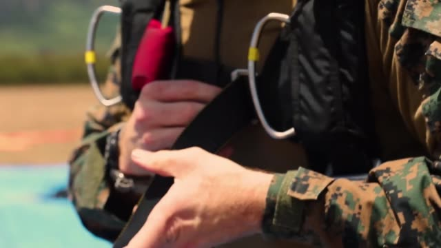 us service members with special operations command conduct parachute operations from ch53 super stallion nd mv22 osprey at marine corp training area... - stallion stock videos & royalty-free footage