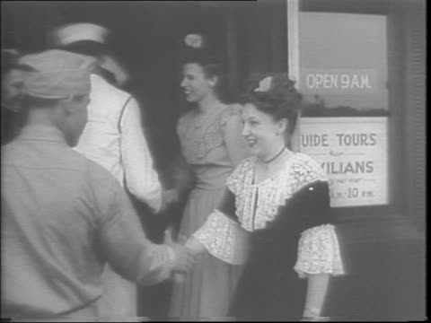 service men in uniform at chicago service men's center / an advertisement for a a night style like the gay 1890s / women, dressed in costume, greet... - moustache stock videos & royalty-free footage