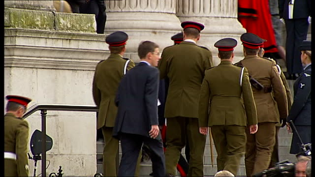 arrivals / departures ENGLAND London St Paul's Cathedral EXT Long Shot of soldiers lining steps of St Paul's as royal cars arrive Close Shot of...