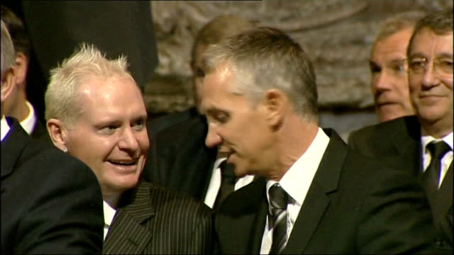 service of thanksgiving for sir bobby robson arrivals service and departures alan shearer seated in congregation with stuart pearce terry venables... - religious service stock videos & royalty-free footage