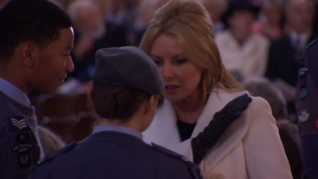 service to mark the75th anniversary of battle of britain; people gathered for service / tv presenter carol vorderman talking with raf cadets - carol vorderman stock videos & royalty-free footage