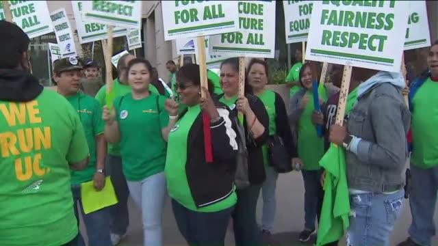 service workers strike in westwood. - university of california stock videos & royalty-free footage