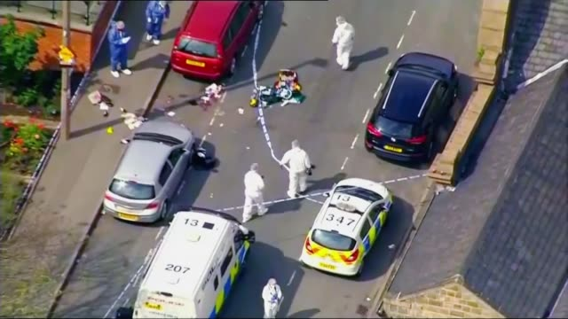 servicemen arrested in neonazi probe r16061613 / west yorkshire birstall crime scene where jo cox was attacked and killed by tommy mair - extremism stock videos & royalty-free footage