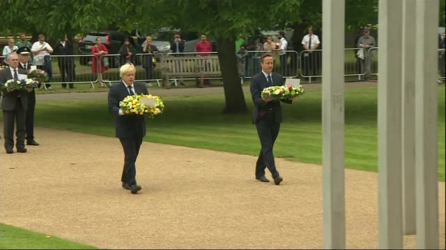 Services held to mark 10th Anniversary of 7/7 bombings ENGLAND London Hyde Park EXT Prime Minister David Cameron and London Mayor Boris Johnson...