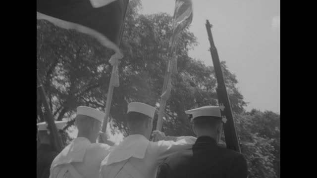 servicewomen of the women's army corps and women accepted for volunteer emergency service march in funeral procession of us adm forrest percival... - womens army corps stock videos & royalty-free footage