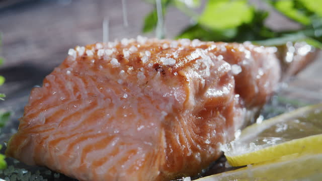 serving a portion of grilled salmon. adding salt. extreme close-up - adding salt stock videos & royalty-free footage