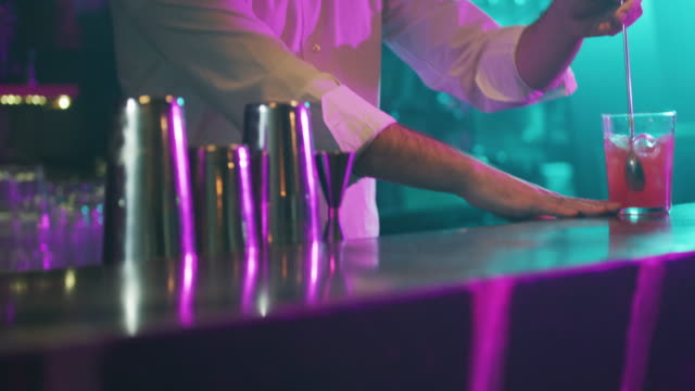 serving cocktail 4k - bartender stock videos and b-roll footage