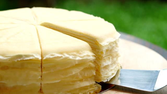 slomo - serving crepe cake - crepe stock videos & royalty-free footage