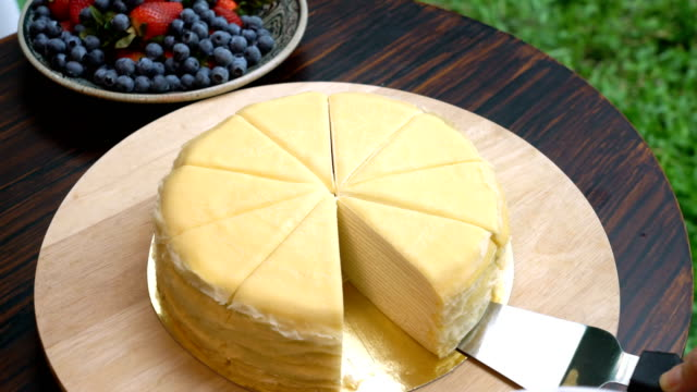 serving crepe cake - crepe stock videos & royalty-free footage