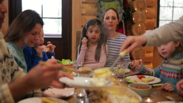serving dinner in a log cabin - setting the table stock videos & royalty-free footage