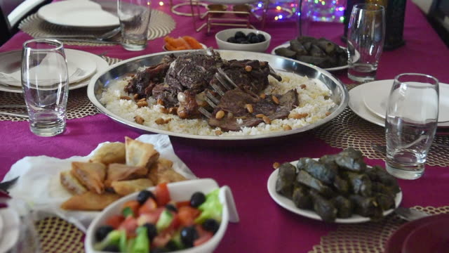 serving food before iftar. ramadan - table stock videos & royalty-free footage
