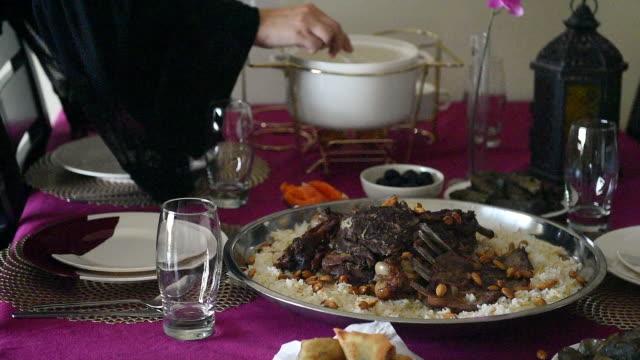 serving food before iftar. ramadan - ramadan stock videos & royalty-free footage