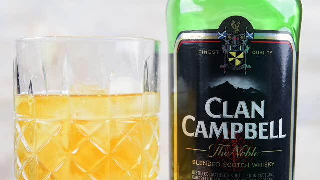 serving ice into a clan campbell whiskey served in an old-fashioned drinking glass on march 9 in toronto, canada. - intellectual property stock videos & royalty-free footage