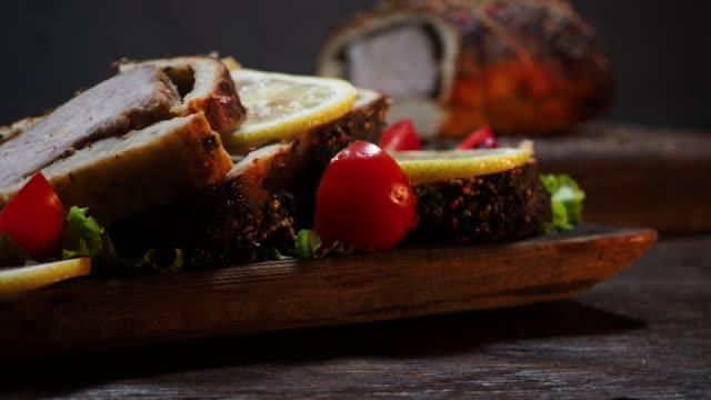 serving roasted tenderloin - steak plate stock videos & royalty-free footage