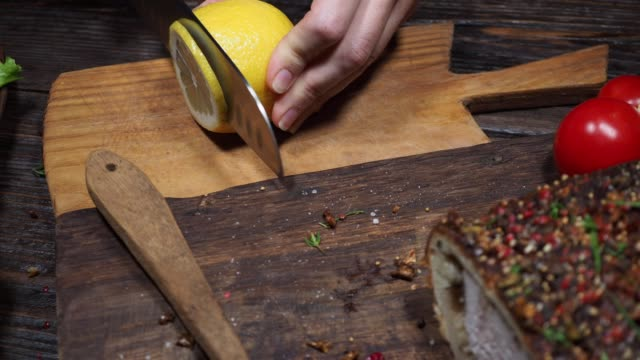 serving roasted tenderloin - lemon stock videos & royalty-free footage