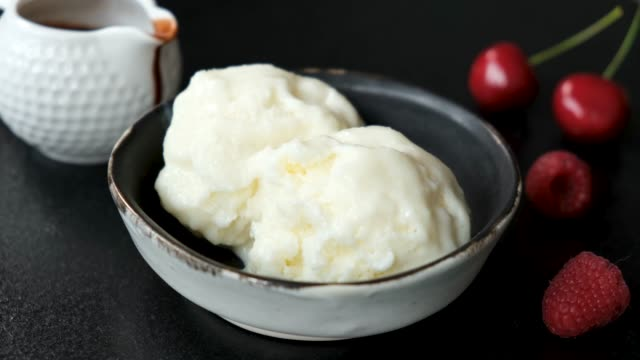 serving scoop of vanilla ice cream - serving scoop stock videos & royalty-free footage