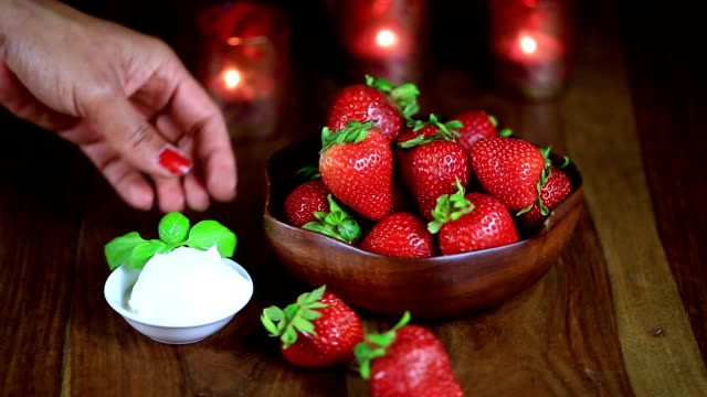 serving strawberries and whipped cream - whipped cream stock videos & royalty-free footage