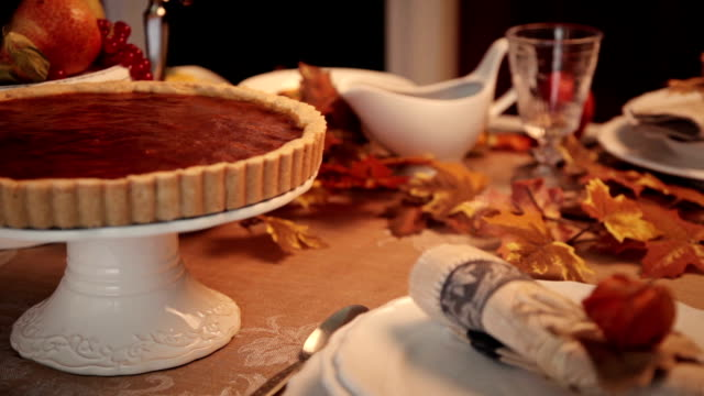 serving thanksgiving turkey dinner - dessert stock videos & royalty-free footage