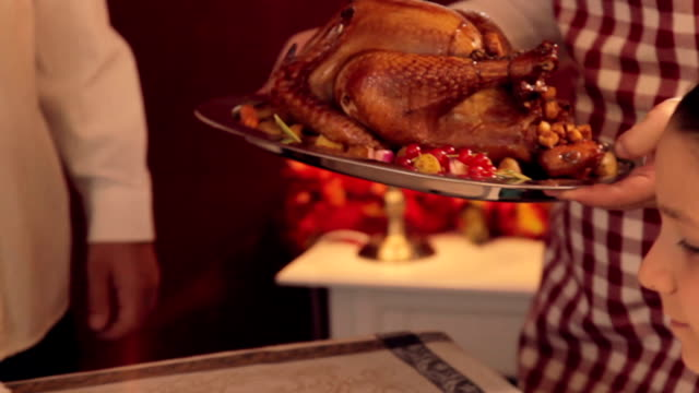 serving thanksgiving turkey - turkey stock videos and b-roll footage