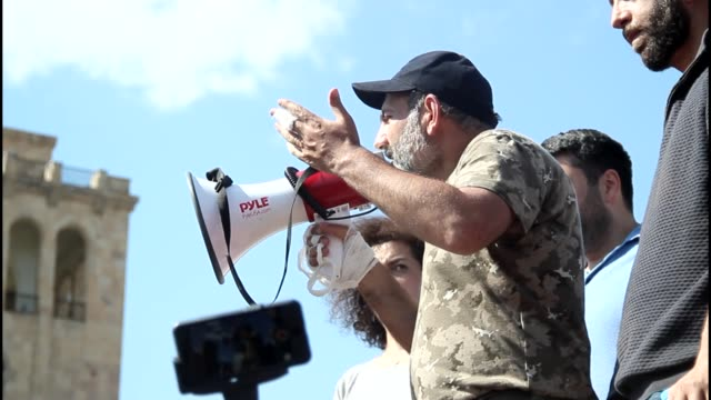 Serzh Sargsyan resigns as Prime Minister ARMENIA Yerevan EXT Various of opposition MP Nikol Pashinyan addressing protest using megaphone