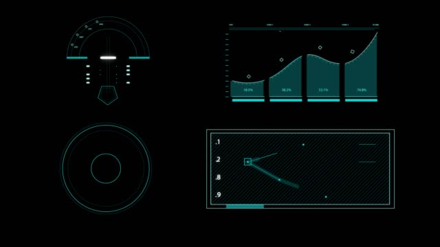 set animation graphic futuristic high tech hud elements for user interface.  (alpha apple prores) - head up display vehicle part stock videos & royalty-free footage