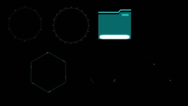 vidéos et rushes de set animation graphique futuriste high tech hud éléments pour l'interface utilisateur.  (alpha apple prores) - interface utilisateur graphique
