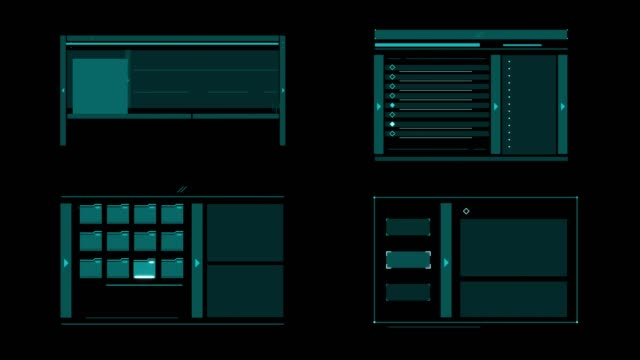 set animation graphic futuristic high tech hud elements for user interface.  (alpha apple prores) - loading screen stock videos & royalty-free footage