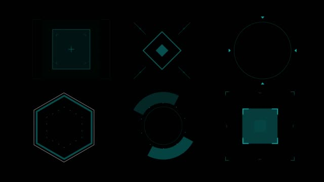 set animation graphic futuristic high tech hud elements for user interface.  (alpha apple prores) - group of objects stock videos & royalty-free footage