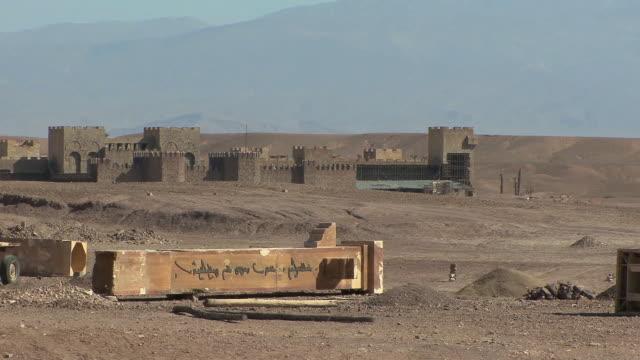 ms pan set for cleopatra movie on back lot of atlas film studios, ouarzazate, morocco - 像点の映像素材/bロール