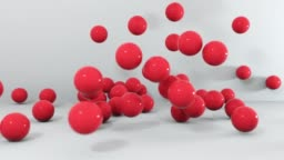 Set of different colors balls falling. 3D 4K animation.