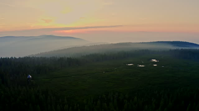 aerial set of lakes on the top of the hill at sunset - moor stock videos & royalty-free footage