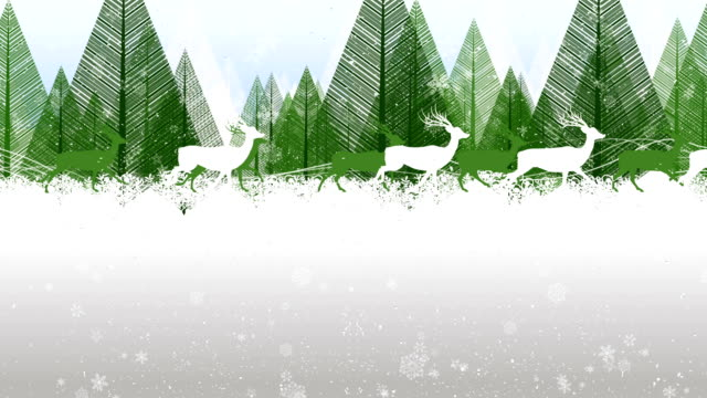 set of reindeer running in floral background - greeting card stock videos & royalty-free footage