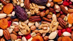 Set of various nuts and dried fruits