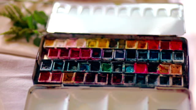 set of watercolor paints in a box - group of objects stock videos and b-roll footage
