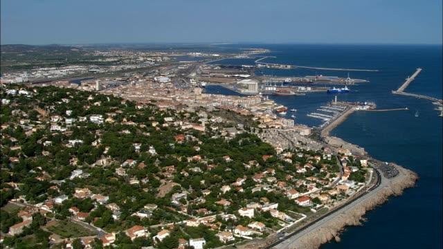 Sete port et de la vieille ville, vue aérienne, Languedoc-Roussillon, en France