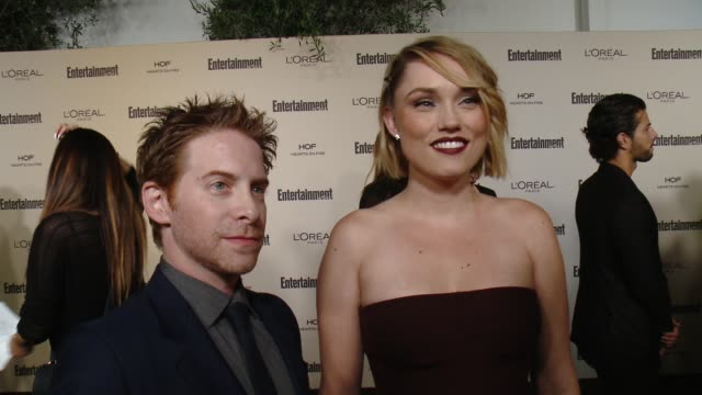 interview seth green and clare grant on favorite television moments from this past season and on what entertainment weekly means to them at... - entertainment weekly stock videos and b-roll footage