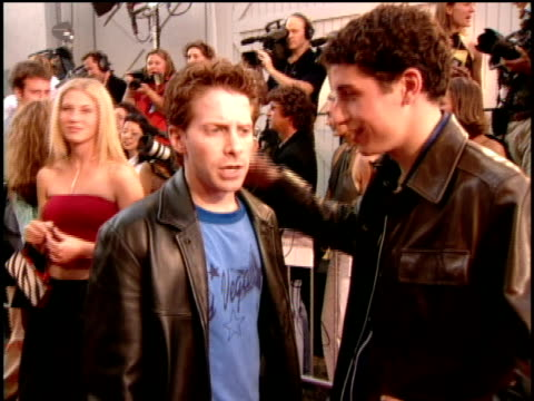 seth green and jason biggs are joking about entering the porn industry on the red carpet of the 2000 mtv movie awards - pornographic movie stock videos and b-roll footage